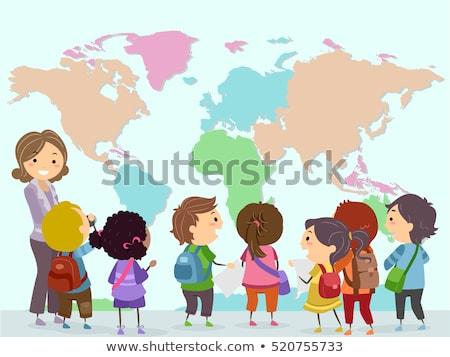 Stickman Kids Teacher World Map Stock photo © lenm