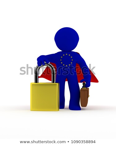 Small super hero businessman character with Padlock Stock photo © andreasberheide