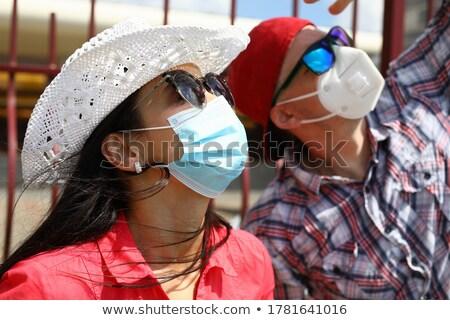Pár néz fogyatkozás illusztráció nő égbolt Stock fotó © adrenalina