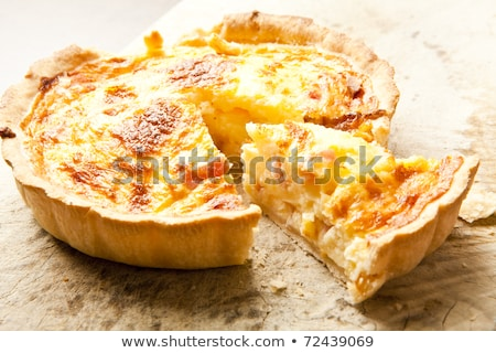 homemade quiche with cream, cheese and bacon Stock photo © M-studio