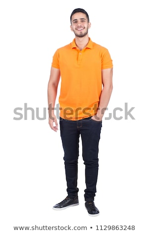 Full length portrait of a pensive young man Stock photo © deandrobot
