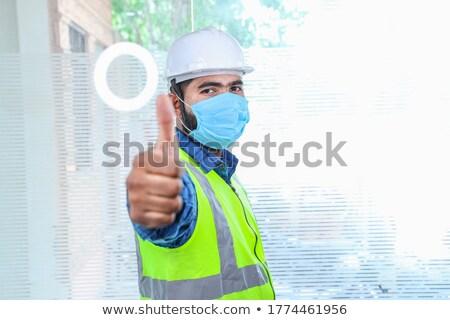Veste bleu gilet homme succès positif Photo stock © toyotoyo