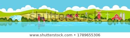 landelijk · huis · groene · landschap · natuur · achtergrond - stockfoto © bluering