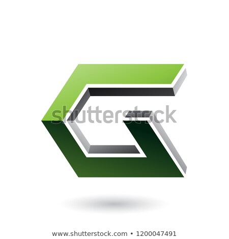 Green and Black 3d Angled Icon for Letter G Vector Illustration Stock photo © cidepix