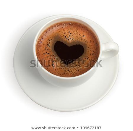 Tasse Kaffee Herz Schaum über Ansicht Stock foto © dash