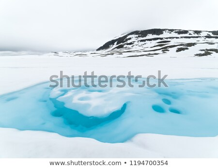 Ice lake near scenic route Aurlandsfjellet, Norway Stock photo © Kotenko