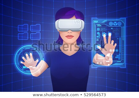 Realidade néon ícones tecnologia símbolos computador Foto stock © Anna_leni