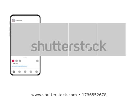 Mobile phones with poll in social media. Interface a poll. Template a poll in popular social media. Stock photo © AisberG