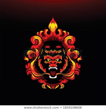 Cartoon Angry Firefighter Monkey Stock photo © cthoman