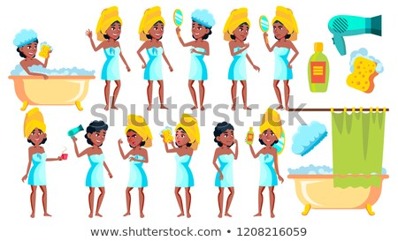 Teen Girl Poses Set Vector. Black. Afro American. Friends, Life. For Presentation, Invitation, Card  Stock photo © pikepicture