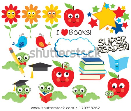 Graduate Caterpillar Bookworm Worm on Book Stock photo © Krisdog