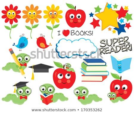 oruga · ratón · de · biblioteca · gusano · libros · cute - foto stock © krisdog