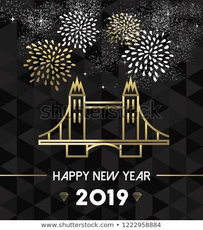 Nouvelle année Londres Tower Bridge Voyage or happy new year Photo stock © cienpies