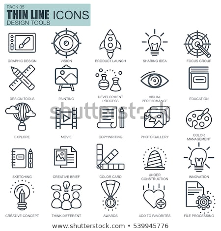 copywriting concept   line design style icons set stock photo © decorwithme