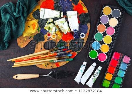 Palet verf tabel creativiteit Stockfoto © dolgachov