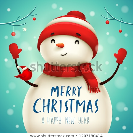 Christmas Cute Little Cheerful Snowman with Red Scarf and Santa Stock photo © ori-artiste