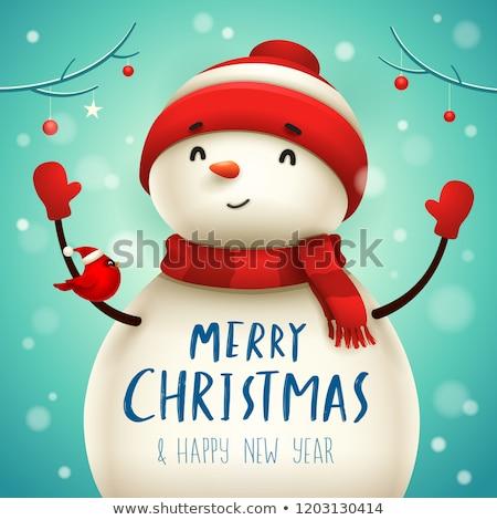 Рождества · Cute · мало · снеговик · красный - Сток-фото © ori-artiste