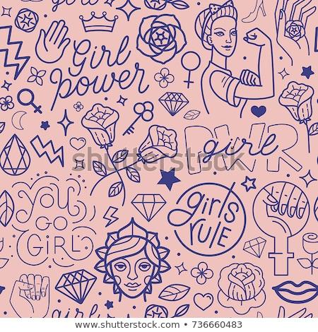 Girl Power Line Seamless Pattern Stock photo © Anna_leni