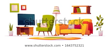 sofa chair set vector home furniture living room isolated cartoon illustration stockfoto © pikepicture
