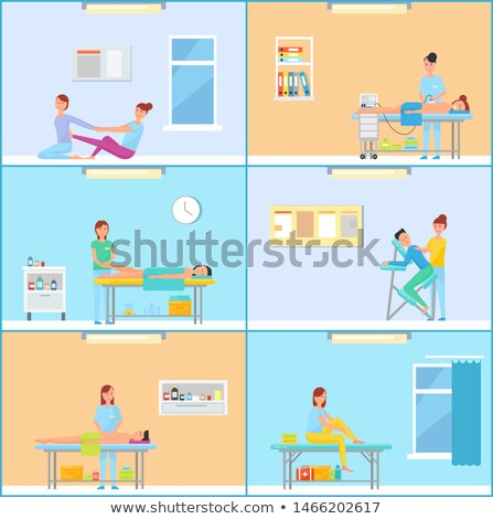 Massage Cabinet while Session of Treatment Cartoon Stock photo © robuart