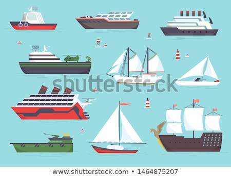 water transport sailing boat ships set vector stock photo © robuart