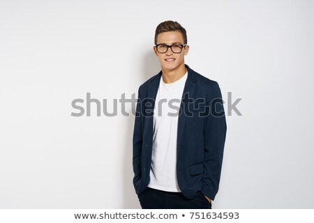 portrait of confident smart casual man in blue suit Stock photo © feedough