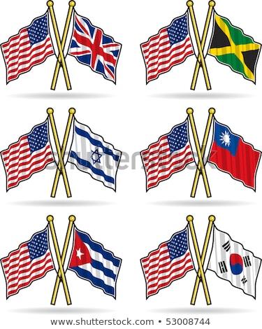 Dwa flagi Izrael odizolowany biały Zdjęcia stock © MikhailMishchenko