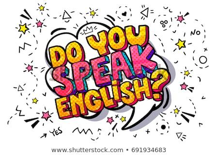 Vraag spreken Engels Rood bus typisch Stockfoto © nito