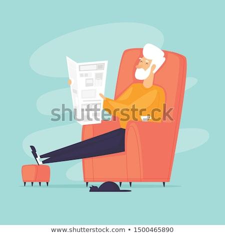 öreg nyugdíjas újság család vektor olvas Stock fotó © robuart