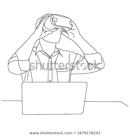 Interaktív valóság laptop nő férfi ül Stock fotó © robuart