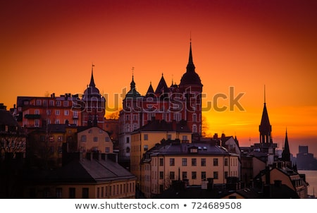 Silhouette of Stockholm at sunset Stock photo © 5xinc