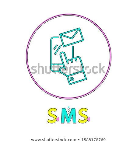 sms round linear icon with smartphone and envelope stock photo © robuart