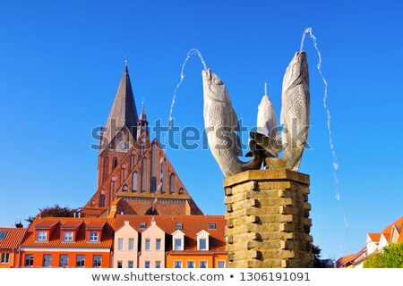 Barth market square and church, an old town in Germany Stock photo © LianeM