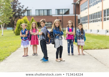 Stock photo: group pre-teen School Pupils Outside of the Classroom