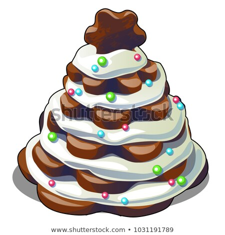 Festive layered biscuit cake covered with whipped cream in form of Christmas tree. Sketch for greeti Stock photo © Lady-Luck