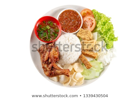 tradicional · picante · arroz · prato · rua · folha - foto stock © szefei