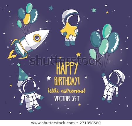 Foto stock: Criança · astronauta · balões · festa · seis · ilustração