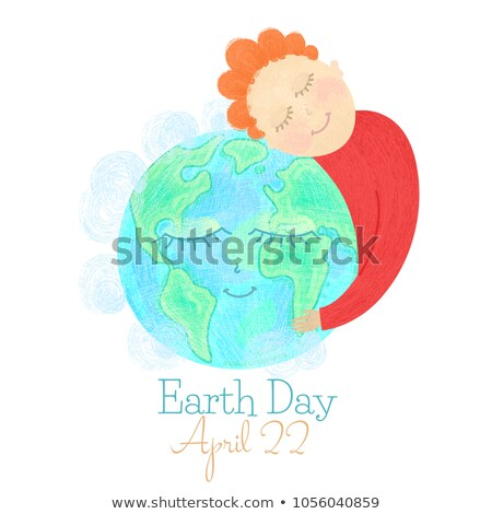 Earth Day. Man hug globe. Save our planet. Hand drawn textured smiling characters. Ecology concept Stock photo © user_10144511