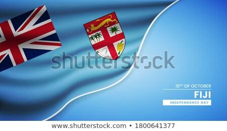 Fidzsi-szigetek zászló fehér nagy szett szív Stock fotó © butenkow