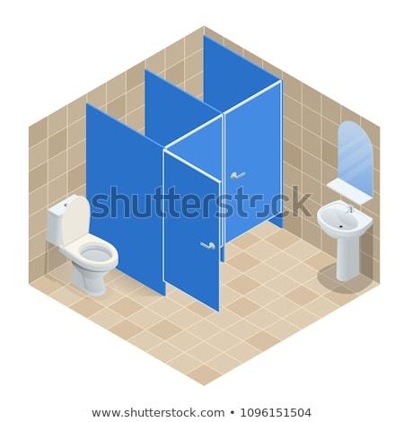 Vektor izometrikus nyilvános férfi wc szoba Stock fotó © tele52