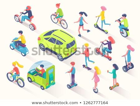 ecotransport people using eco friendly cars auto stock photo © robuart