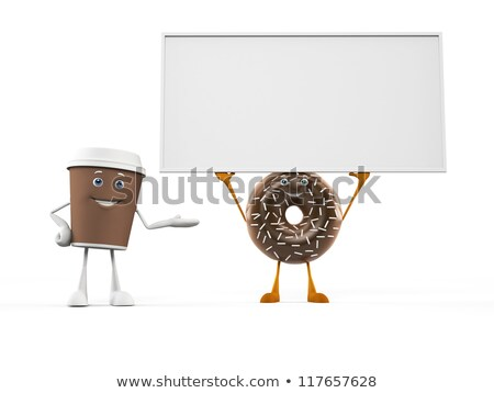chocolate donut cartoon character showing a blank sign stock photo © hittoon