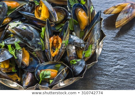 Cooked mussels on the board Stock photo © Alex9500