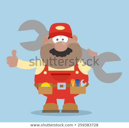 African American Mechanic Cartoon Character Holding Huge Wrench And Giving A Thumb Up Flat Syle Stock photo © hittoon