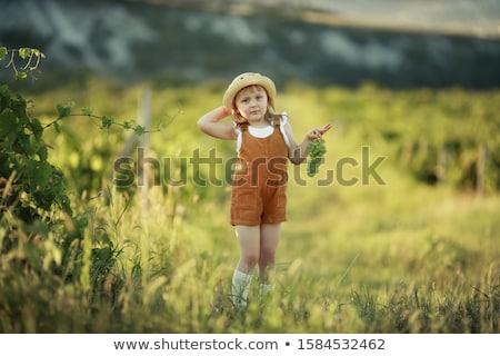 Kislány sétál mező visel cowboykalap víz Stock fotó © ElenaBatkova