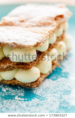layer cake from puff pastry with custard cream stock photo © melnyk