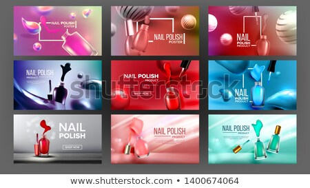 Multicolored Nail Polish Bottle Banner Set Vector Stock photo © pikepicture