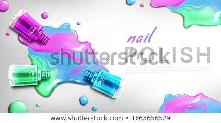 Bottle Of Blue Nail Polish Product Banner Vector Stock photo © pikepicture