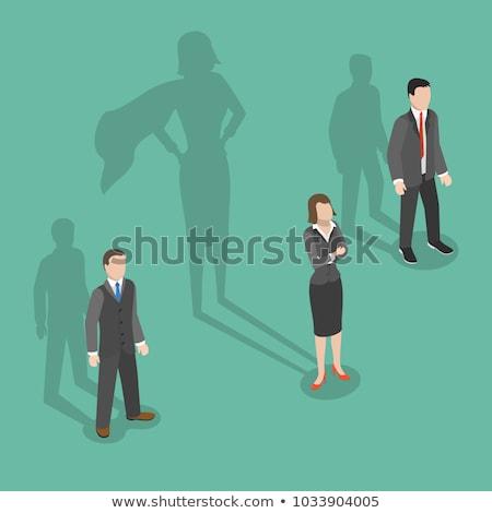 üzlet hősök férfi nő áll felső Stock fotó © robuart