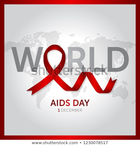 Red ribbon and text World AIDS Day Stock photo © lemony